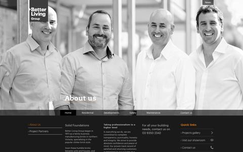 Screenshot of About Page betterlivinggroup.com.au - About Us     Luxury Home Builders and Property Developers Melbourne - captured Oct. 29, 2014