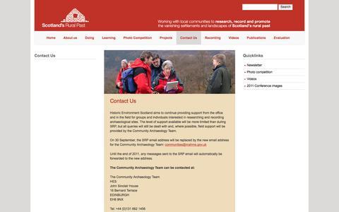 Screenshot of Contact Page scotlandsruralpast.org.uk - Welcome | Scotland's Rural Past - captured March 1, 2017
