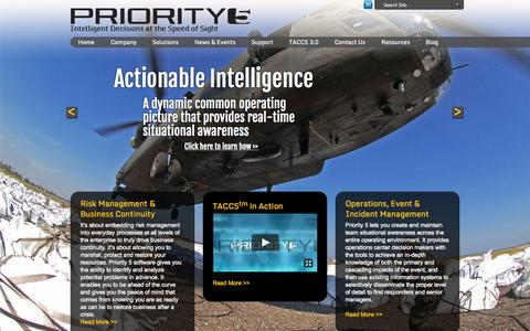 Screenshot of Home Page priority5.com - Intelligent Decisions at the Speed of Sight Priority5 - captured Oct. 1, 2014
