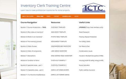 Screenshot of Trial Page inventoryclerktrainingcentre.com - Trial Page | Inventory Clerk Training Centre - captured Aug. 6, 2016