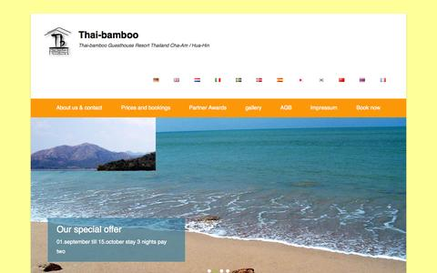 Screenshot of Home Page thai-bamboo.com - Thai-bamboo Guesthouse Resort Thailand Cha-Am / Hua-Hin - captured Oct. 9, 2014