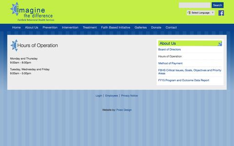 Screenshot of Hours Page fairfieldbhs.org - Hours of Operation | Fairfield Behavioral Health Services - captured June 17, 2016
