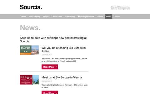 Screenshot of Press Page sourcia.eu - News - captured Oct. 7, 2014