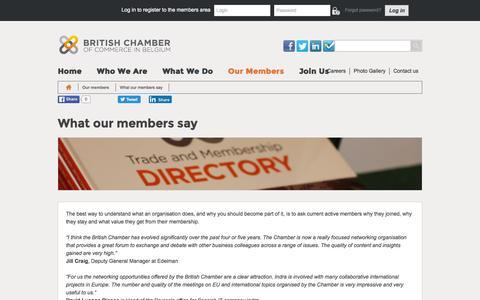 Screenshot of Testimonials Page britishchamber.be - What our members say | British Chamber of Commerce in Belgium - captured Nov. 23, 2016