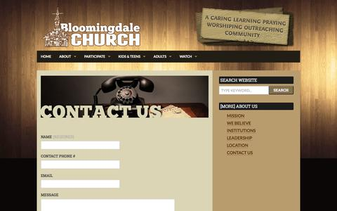 Screenshot of Contact Page bloomingdalechurch.org - Contact Us | Bloomingdale Church - Bloomingdale Illinois - captured June 1, 2017