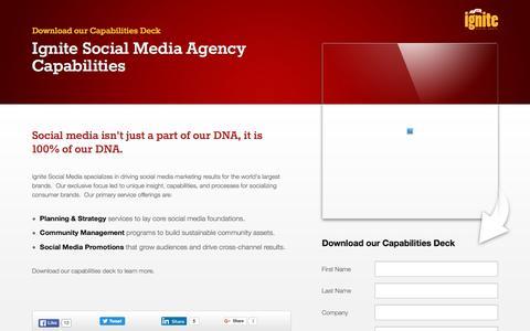 Screenshot of Landing Page ignitesocialmedia.com - Ignite Social Media Agency Capabilities - captured May 4, 2016