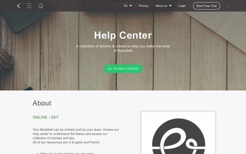 Screenshot of Support Page blackbell.com - Help Center - captured June 24, 2019