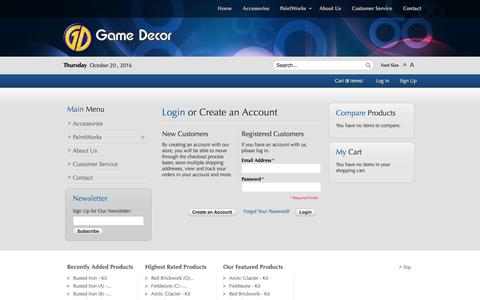 Screenshot of Login Page gamedecor.com - Game Decor - captured Oct. 21, 2016