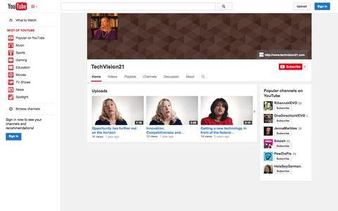 Screenshot of YouTube Page youtube.com - TechVision21  - YouTube - captured Oct. 29, 2014