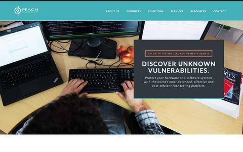 Screenshot of Home Page peachfuzzer.com - Peach Fuzzer: Discover unknown vulnerabilities. Intelligent Fuzzing. - captured March 5, 2016
