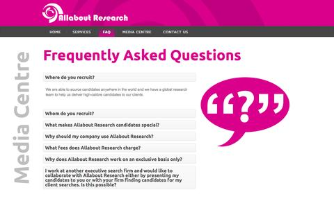 Screenshot of FAQ Page allaboutresearch.co.za - FAQ - Allabout Research - captured Sept. 30, 2014