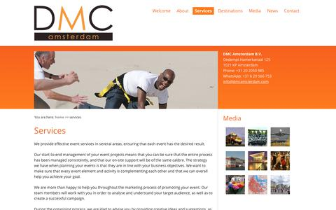 Screenshot of Services Page dmcamsterdam.com - Services | DMC Amsterdam - captured Oct. 7, 2018