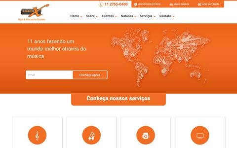 Screenshot of Home Page listenx.com.br - Música certa na hora certa - ListenX - captured Jan. 23, 2015