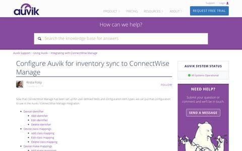 Screenshot of Support Page auvik.com - Configure Auvik for inventory sync to ConnectWise Manage – Auvik Support - captured Nov. 17, 2017
