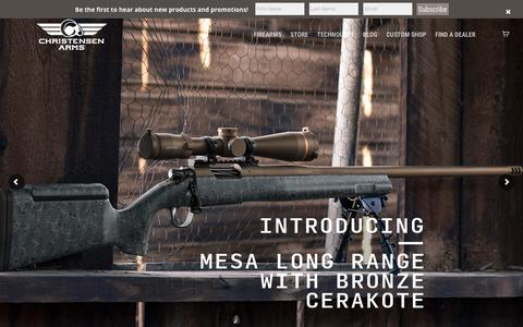 Screenshot of Home Page christensenarms.com - Christensen Arms | Carbon Fiber Barrels & Custom Firearms - captured July 17, 2018