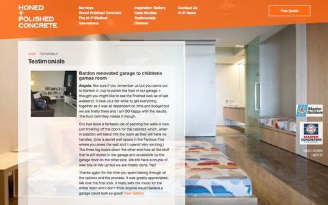 Screenshot of Testimonials Page honedandpolishedconcrete.com.au - Honed and Polished Concrete  Polished Concrete, Sunshine Coast, Noosa, Maroochydore, Caloundra, Brisbane, Australia :: Honed and Polished Concrete :: Customer Testimonials - captured March 11, 2016