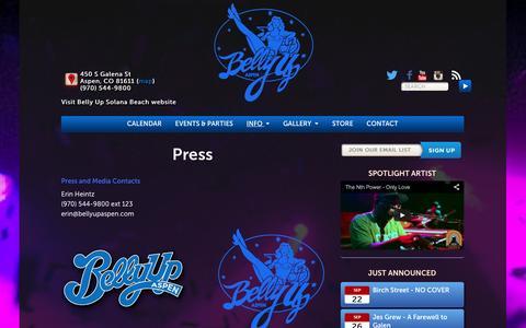 Screenshot of Press Page bellyupaspen.com - Press - Belly Up Aspen - captured Sept. 19, 2014