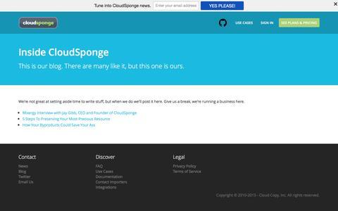 Screenshot of Blog cloudsponge.com - Inside CloudSponge - captured Dec. 4, 2015
