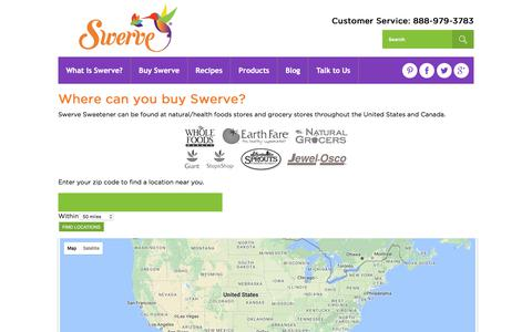 Screenshot of Locations Page swervesweetener.com - Find It | Swerve Sweetener - captured July 7, 2017