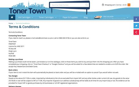 Screenshot of Terms Page tonertown.co.uk - Terms & Conditions – Toner Town - captured Jan. 12, 2016