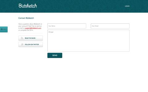 Screenshot of Contact Page bidsketch.com - Contact | Bidsketch Proposal Software - captured Sept. 18, 2014
