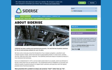 Screenshot of About Page siderise.com - About Siderise - captured Oct. 19, 2018