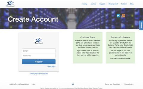 Screenshot of Signup Page springsignage.com - Spring Signage | Create Account - captured Nov. 5, 2014