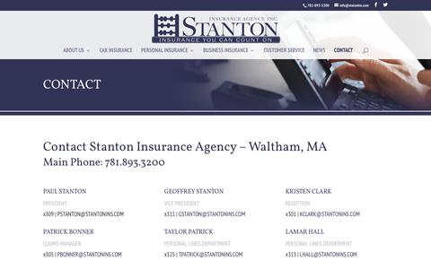 Screenshot of Contact Page stantonins.com - Contact Stanton Insurance Agency - Waltham MA Insurance Agency - captured Nov. 9, 2017
