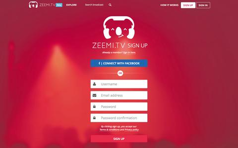 Screenshot of Signup Page zeemi.tv - Your virtual stage - Zeemi.tv - captured Oct. 7, 2014