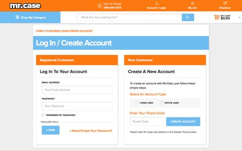 Screenshot of Login Page mrcase.com - Customer Login/Create Account - captured Dec. 2, 2016