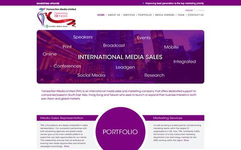 Screenshot of Home Page transactionmedia.com - Transaction Media - captured Oct. 7, 2014