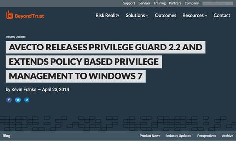 Screenshot of Team Page beyondtrust.com - Avecto Releases Privilege Guard 2.2 and Extends Policy Based Privilege Management to Windows 7 | BeyondTrust - captured Jan. 3, 2020
