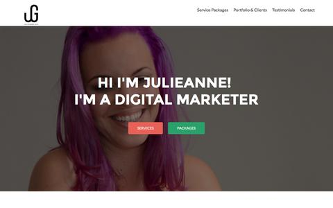 Screenshot of Home Page julieannegee.com - Julieanne Gee - Social Media and Digital Marketing Services - - captured March 4, 2016