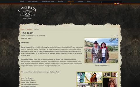 Screenshot of Team Page lobopark.com - The Team - captured Oct. 2, 2014