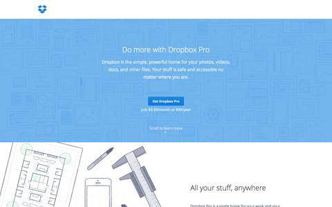 Screenshot of Pricing Page dropbox.com - Dropbox - Upgrade to Dropbox Pro - captured Oct. 28, 2014