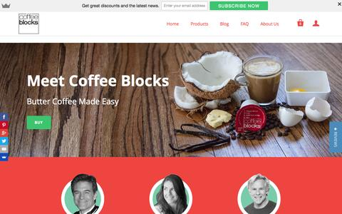 Screenshot of Home Page coffeeblocks.com - Coffee Blocks | Instant Butter Coffee - captured July 22, 2015