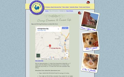 Screenshot of Contact Page Maps & Directions Page ashevillefarm.com - Asheville Farm for Guinea Fowl Keets, Icelandic Sheep, Farm-Fresh Eggs - captured June 20, 2016