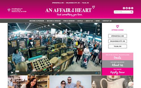 Screenshot of Home Page aaoth.com - Home - An Affair of the Heart - captured Sept. 24, 2018
