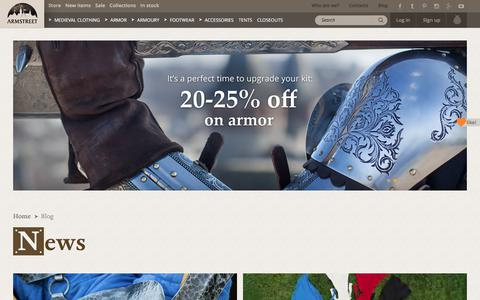 Screenshot of Press Page armstreet.com - News, armstreet news, new medieval armor, medieval and renaissance costume products - captured Sept. 23, 2018