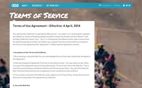 Screenshot of Terms Page 350.org - 350.org  – Terms of Service - captured Oct. 27, 2014