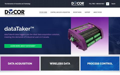 Screenshot of Home Page dycor.com - Dycor - The Intersection of Innovation and Technology - captured Dec. 19, 2018