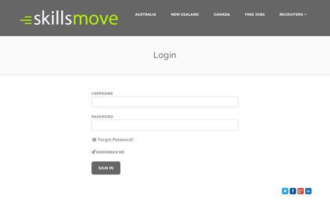 Screenshot of Login Page skillsmove.com - Login | skillsmove - captured Sept. 30, 2014