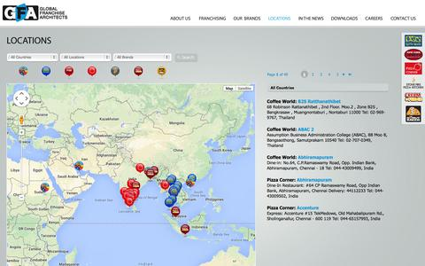 Screenshot of Locations Page gfacorp.com - GFA Locations - Find a Store - captured Sept. 25, 2014