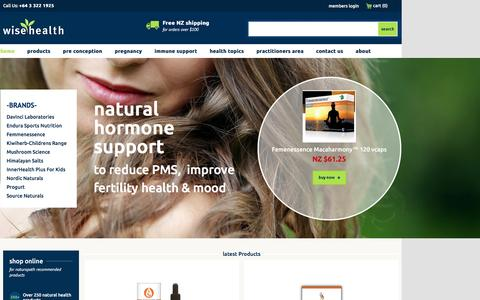 Screenshot of Home Page wisehealth.co.nz - High Quality Health Supplements & Natural Health Products - captured Jan. 11, 2016