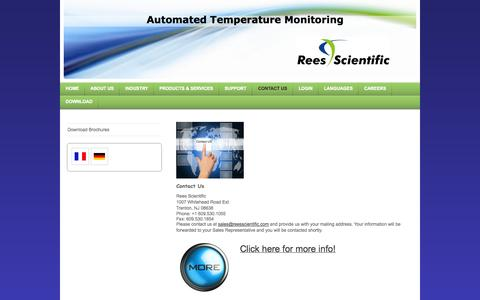 Screenshot of Contact Page reesscientific.com - Email, Phone, Address - captured Oct. 7, 2014