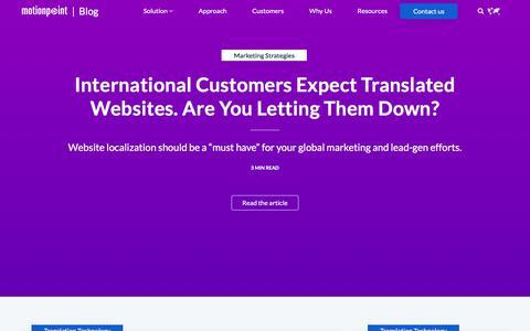 Screenshot of Blog motionpoint.com - Website Translation and Localization Blog - captured July 10, 2018