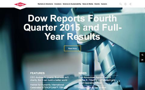Screenshot of Home Page dow.com - The DOW Chemical Company - Home - captured Feb. 2, 2016