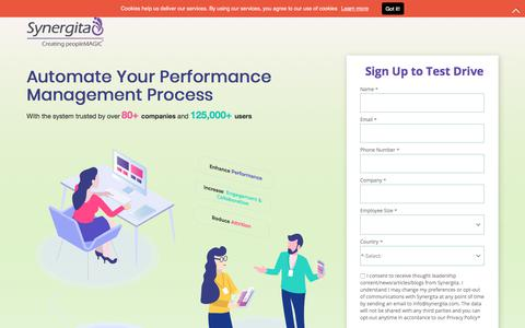 Screenshot of Landing Page synergita.com - Synergita - Employee Performance Management and Engagement Software - captured Sept. 21, 2018