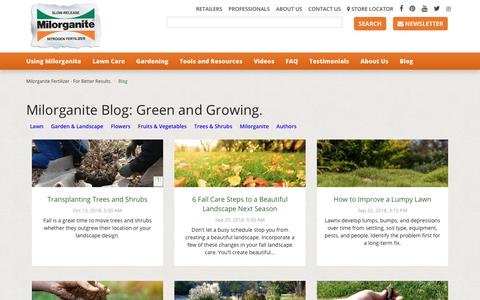 Screenshot of Blog milorganite.com - Milorganite Blog: Green and Growing. Naturally - captured Oct. 20, 2018
