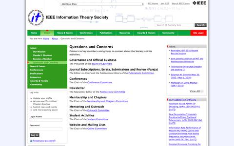 Screenshot of FAQ Page itsoc.org - Questions and Concerns — Information Theory Society - captured May 24, 2016